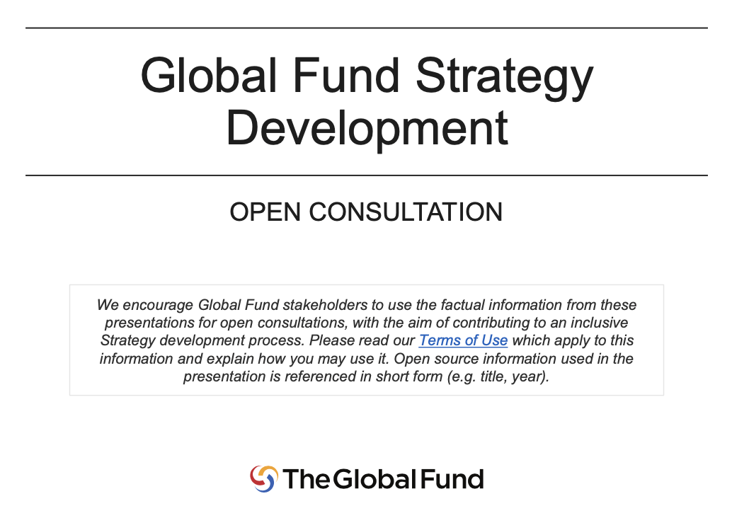 Launch of open consultation on Global Fund Strategy development