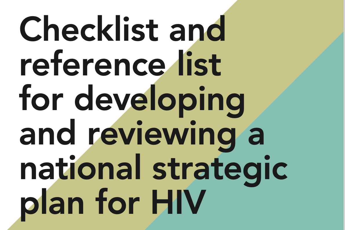 Checklist and reference list for developing and reviewing a national strategic plan for HIV