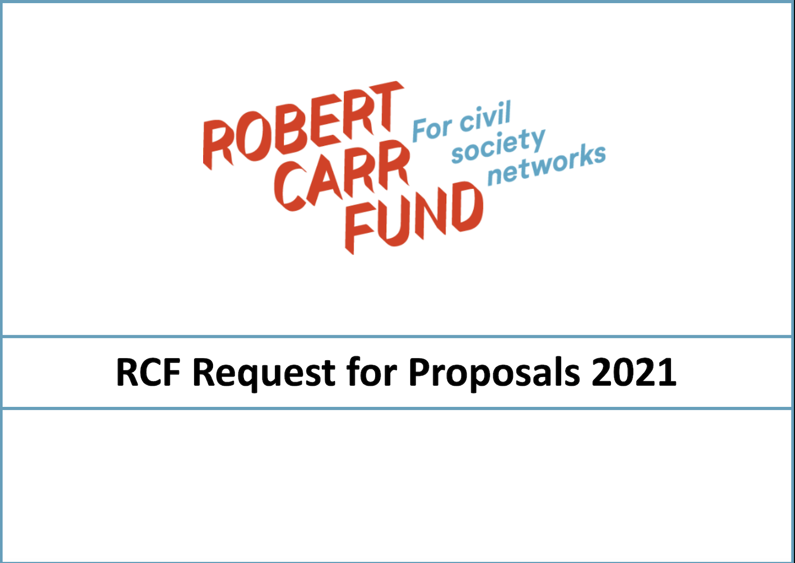 Robert Carr Fund Request for Proposals 2021