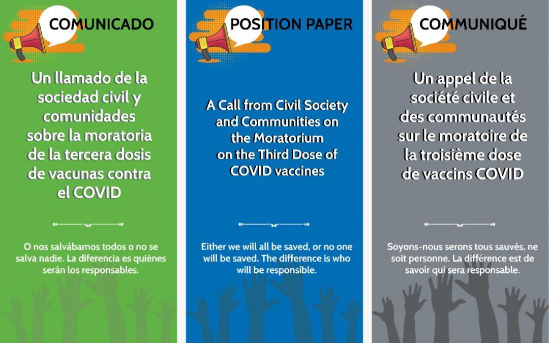 Un llamado de la sociedad civil y comunidades sobre la moratoria de la tercera dosis de vacunas contra el COVID